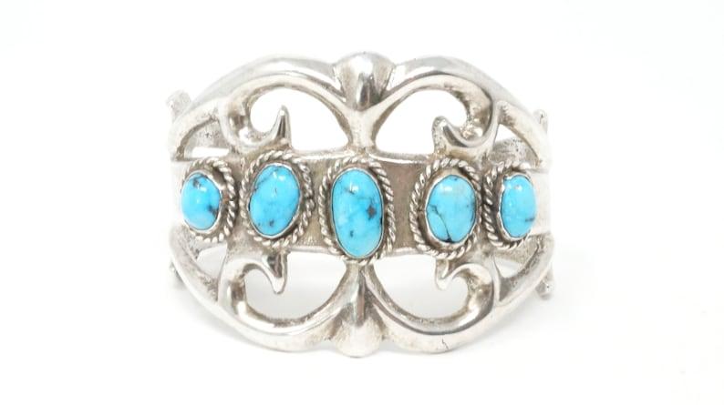 Vintage Native American Sand Cast Handmade Sterling Silver Turquoise Cuff Bracelet 699012076