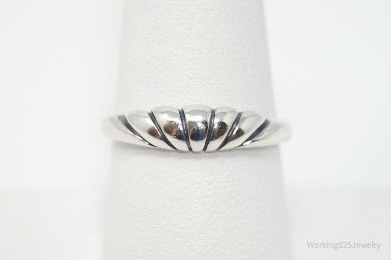 Sz 8.5 Vintage Designer Kabana Modern Puffy Sterling Silver Ring