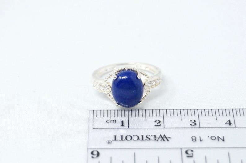 Beautiful Art Deco Style Blue Lapis Lazuli CZ Sterling Silver Ring Size 7-760894728
