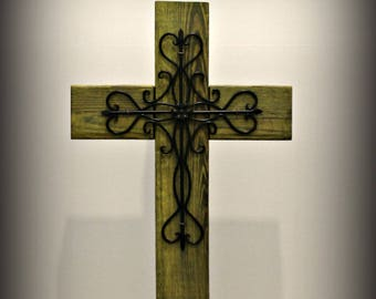 """Upcycled rustic wood and metal cross on base, wooden cross decor, cross porch decor, Easter, church, 29.5"""" tall x 14 inches wide, Yellow"""