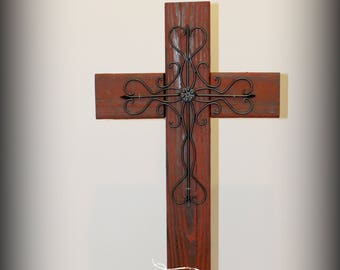 """Upcycled rustic wood and metal cross on base, wooden cross decor, cross porch decor, Easter, church, 29.5"""" tall x 14 inches wide, RED"""