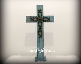 """Rustic wood and metal cross on base, wooden cross decor, equestrian decor, porch decor, Easter, church, 29.5"""" x 14"""", TURQUOISE, HORSESHOE"""
