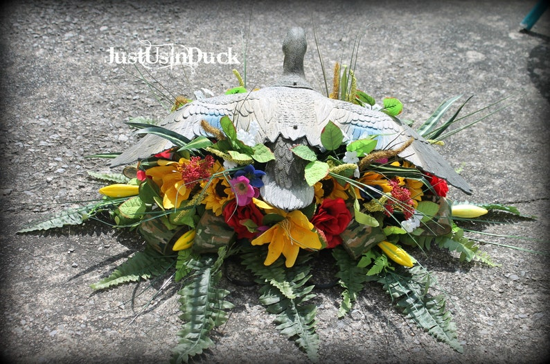 Duck hunter cemetery saddle, Duck tombstone arrangement, Hunting saddle,  Duck tombstone saddle, memorial saddle, flying duck, JustUsInDuck