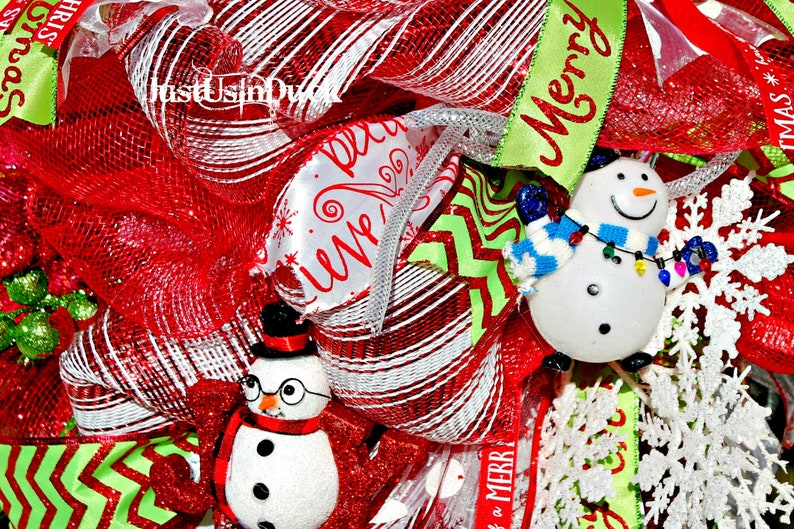 Snowman swag Holiday Swag JustUsInDuck Snowman Christmas Swag Door hanger Swag for front door Christmas deco mesh swag whimsical