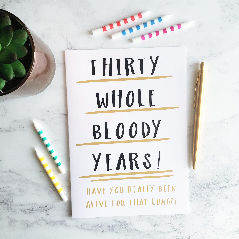 30th Birthday Card Funny 30 Thirtieth