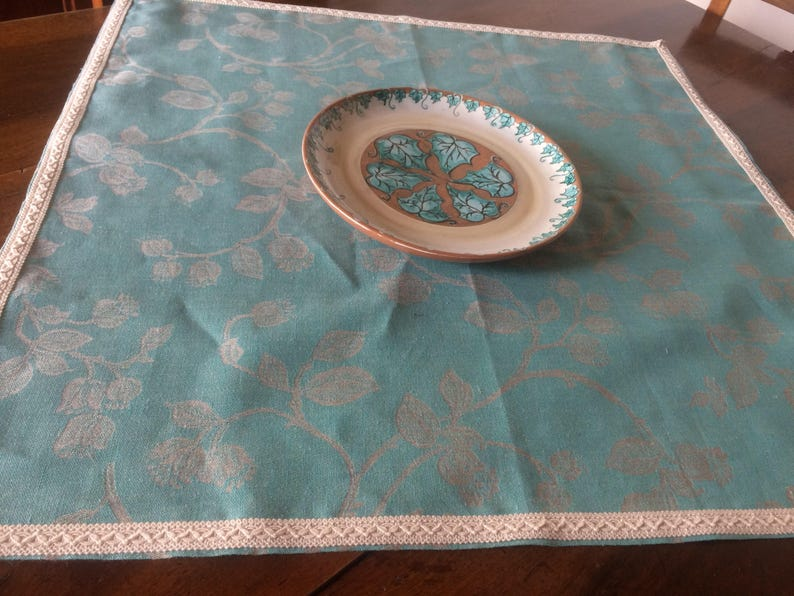 Tyrolean fabric with braiding for the table blue doily Damask water green tablecloth turquoise cotton jaquard centerpiece