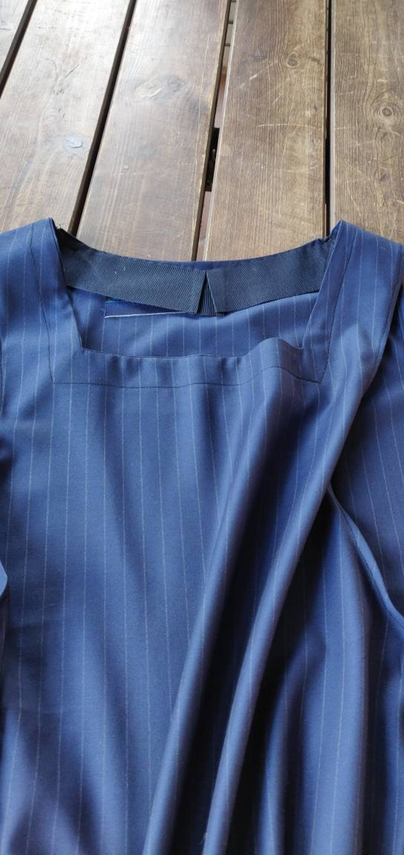 Blue shirtless dress apron with square neckline closed apron in stripes fresh Italian wool fabric house dress and garden