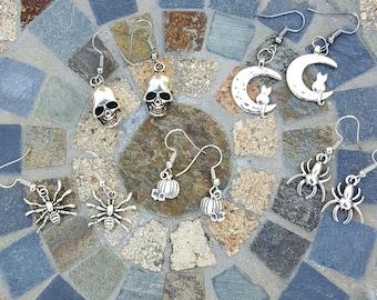 Silver Halloween Dangle Earrings