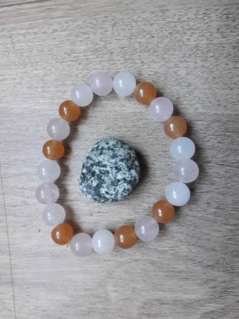 Rose Quartz /& Crystal Quartz Beaded Bracelet Orange Aventurine