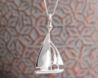 Sail boat Necklace  Sterling Silver Rhodium Plated Pendant  Sailor  boat charm