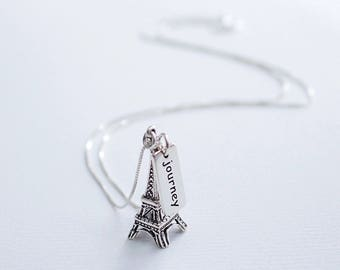 Eiffel Tower Sterling Silver Necklace, Journey Word Charm, Paris France Europe Traveler Gift, Explorer Necklace