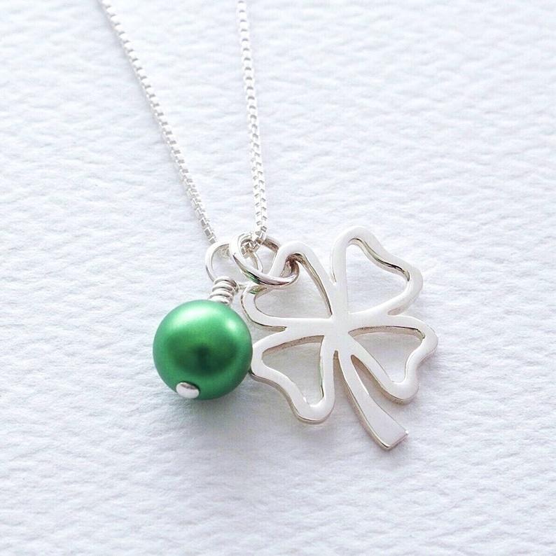 Sterling Silver Flat Four Leaf Clover Good Luck Dangle Charm Bead For Bead Charm Bracelet
