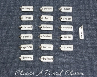 Word Charm, Sterling Silver Add Charm Fearless Survivor Believe Strength Love Blessed Family Grace Journey Peace Faith Balance Courage Soar