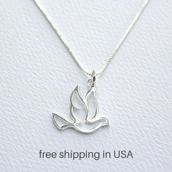 Sterling Silver Womens 1mm Box Chain 3D Flying Dove Pendant Necklace