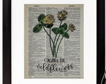 "Luke 12:27 - ""Consider the Wildflowers"" - Dictionary Page Print - Wall Art"