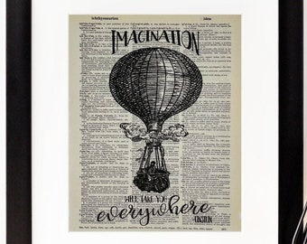 """Einstein Quote - """"Imagination Will Take You Everywhere"""" - Dictionary Page Print - Wall Art - Hot Air Balloon"""
