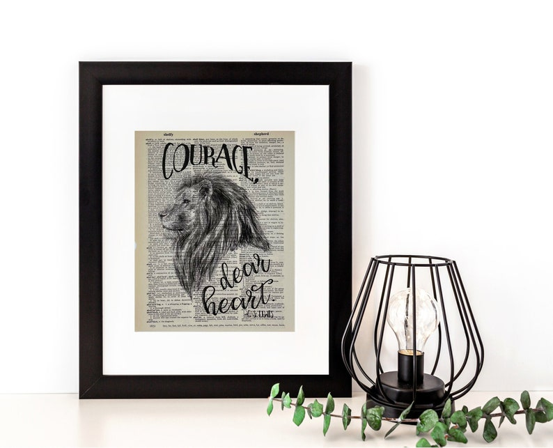 Courage Dear Heart Dictionary Page Print  C. S. Lewis Narnia image 0