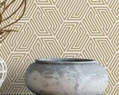 Gold hexagon removable wallpaper / geometric wallpaper / self adhesive wallpaper / beige art deco temporary wallpaper G197-13