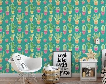 Pink Cactus Removable Wallpaper Cute Self Adhesive Wallpaper Etsy