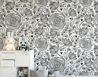 Doodle Floral Removable Wallpaper Botanical Self Adhesive Peony Black And White B132 27