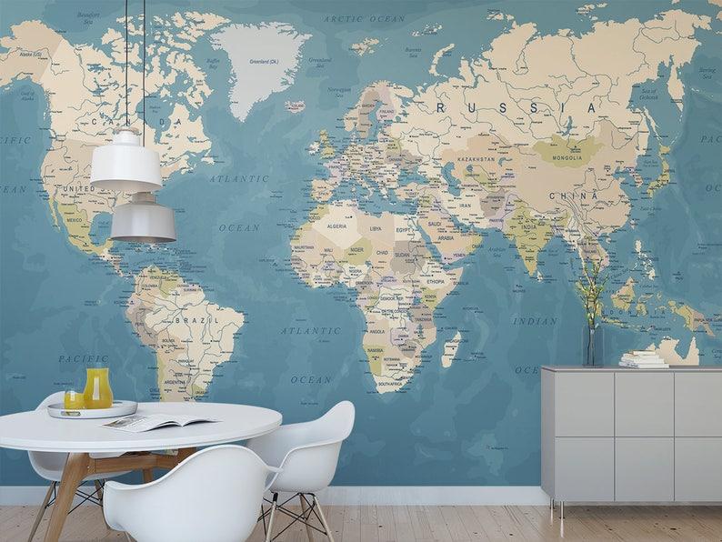 World Map temporary wall mural / World map wall art / | Etsy