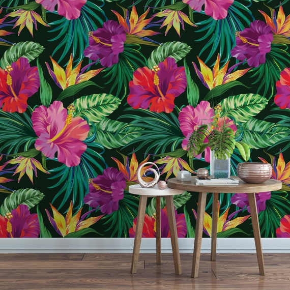 Tropical Hibiscus Removable Wallpaper Jungle Floral Bird Of Paradise Self Adhesive Wallpaper Botanical Temporary Wallpaper B153 27
