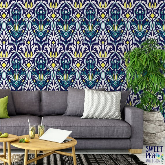 Luxe Damask Removable Wallpaper Navy Self Adhesive Wallpaper Geometric Wall Mural G209 27