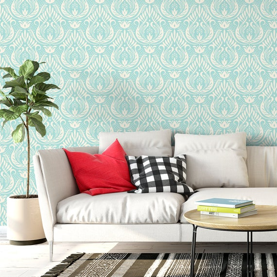 Classic Damask Removable Wallpaper French Self Adhesive Wallpaper Blue Wall Mural G207 13