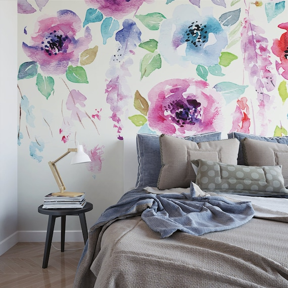 Watercolor Flowers Painted Wall Mural Floral Removable Wallpaper Botanical Self Adhesive Wall Mural M2279