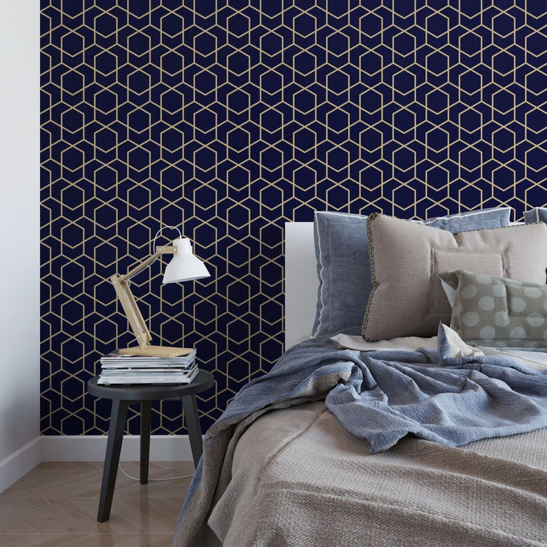 Navy And Gold Hexagon Removable Wallpaper Geometric Etsy