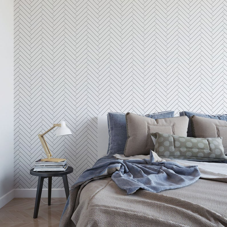 Thin Line Herringbone Removable Wallpaper G190-27 image 0