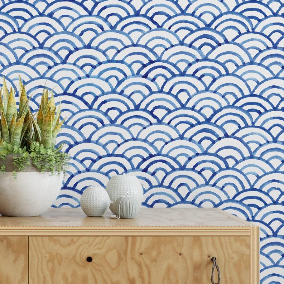 Blue bohemian scallops removable wallpaper boho self adhesive wallpaper