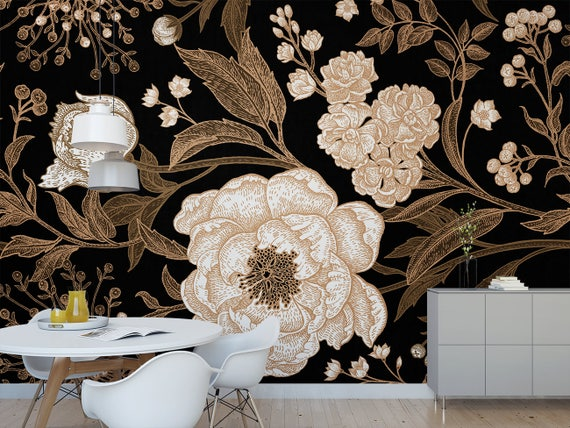 Full Blossom Floral Wall Mural Dark Botanical Removable Wallpaper Antique Flower Self Adhesive Wall Mural M5130