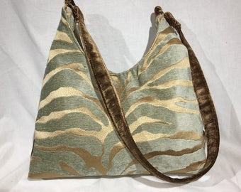 Zebra Print Green and Gold Concealed Carry Purse