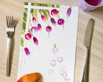 Raphanus sativus - Original watercolor