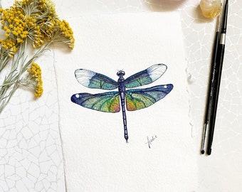 Rainbow Dragonfly - Original Watercolor - A5 format