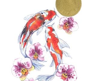 Carp and Orchids - Original Watercolor