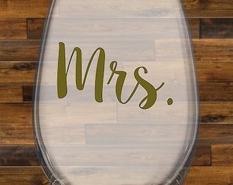 Mrs. & Mr. Wine Stemless Glasses, 15 oz, Wine Glass, Wedding, Party, Bridal, Bride, Groom Glass