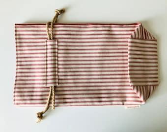 Bread Loaf Bag, Ticking Stripes, Square Bottom, Reusable