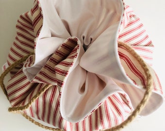Bread Bag, Round, Boule, Reusable, Ticking Stripes