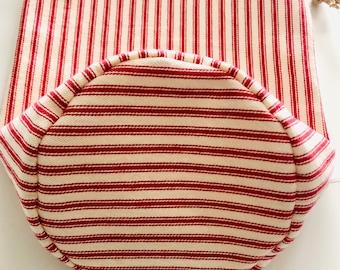 Bagel & Bun Bag, Ticking Stripes, Round Bottom, Reusable