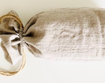 Bread Loaf Bag, Linen, Square Bottom, Reusable