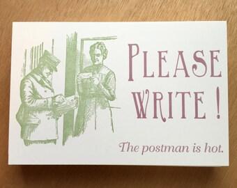 Letterpress Postcards: Please Write!