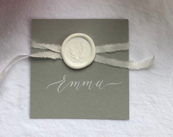 Wedding Place Cards/Escort Cards Grey or White cards with elegant calligraphy and wax seal