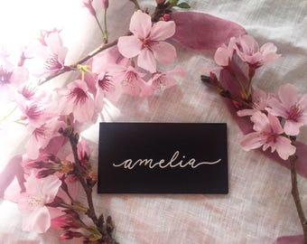 Black Acrylic Wedding Place Cards with White Calligraphy