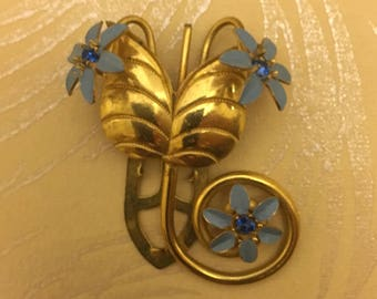 Vintage Gold Dress Clip with Blue Flowers