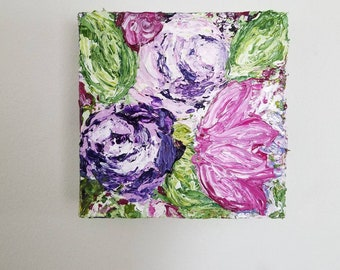 6X6 Abstract Floral Canvas Painting