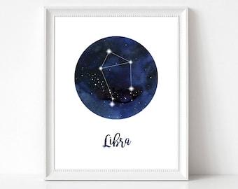 Libra Print, Libra Home Decor, Libra Constellation, Libra Wall Decor, Libra Wall Art, Zodiac Print, Libra Stars, Zodiac Constellation