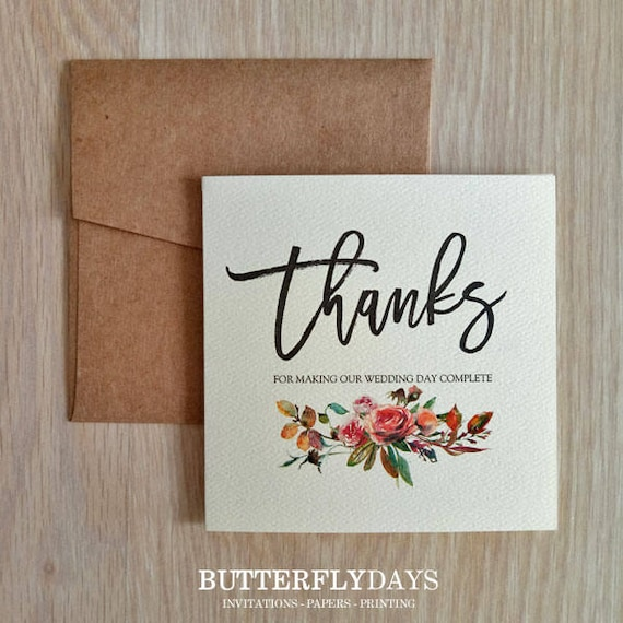 10 X Thank You Cards Wedding Thank You Cards Rustic Thank Etsy