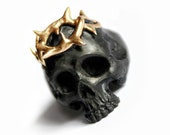 Jesus Ring Crown Of Thorns - gold branch, black ring, black, gold sheet, Jesus ring, crown of thorns, Jesus wreath pagan ring, Gothic